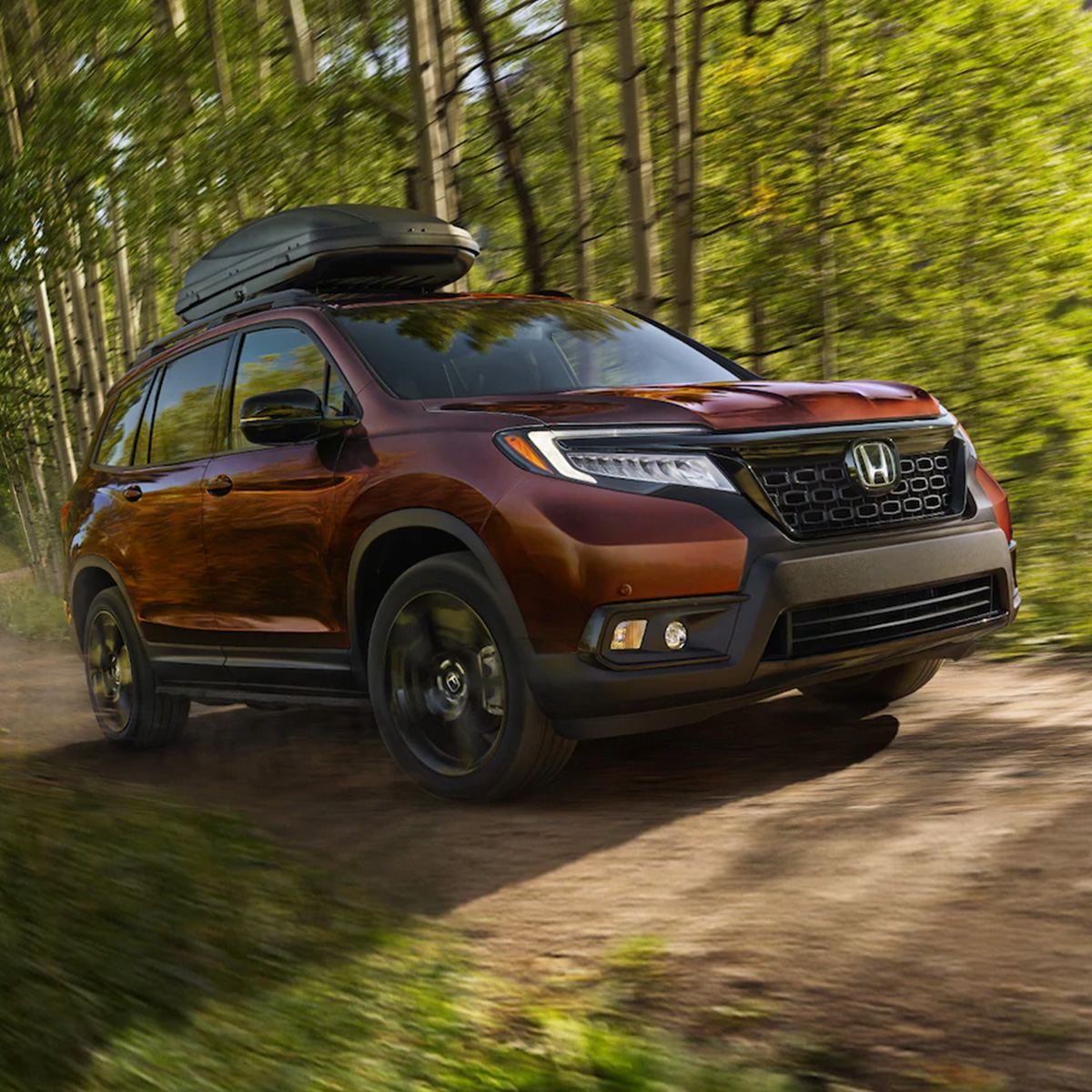 side profile of red Honda passport suv driving on a dirt road in the middle of a forest