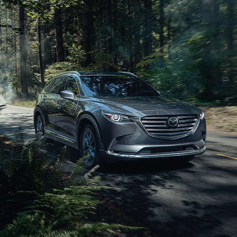 frontal view of silver mazda cx-9 suv crossing through a forest