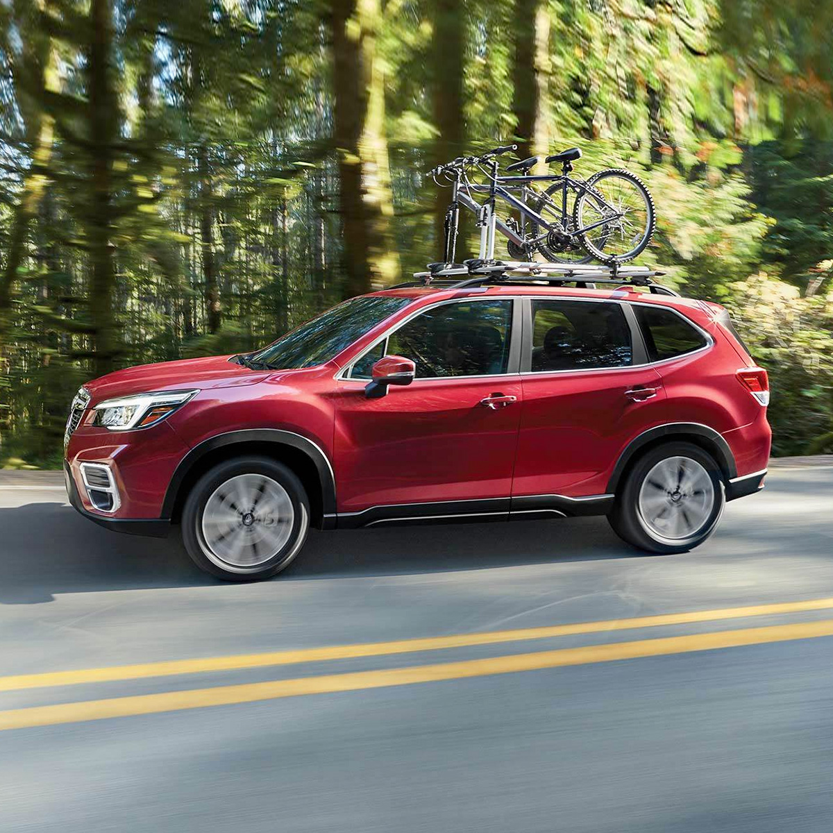 side profile of subaru forester suv in red color carrying bikes on top of the roof rack driving on the a road sorrounded by trees
